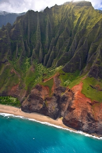 Napoli coast via helicopter Kauai