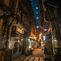 Narrow alley full of tiny shops in Yongsan District Seoul South Korea