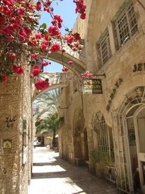 Narrow street in the Jewish Quarter of Old Jerusalem