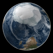 Nasa comparison of the ice cover of Antarctica and the minimum extent of Arctic Polar ice cap in  created