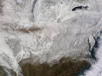 NASA satellites picture of snow across the eastern United States on Feb  at  UTC