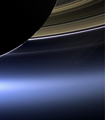 NASAs Cassini spacecraft captured Saturns rings and planet Earth and its moon This is only the third time that Earth has been capture from the outer solar system