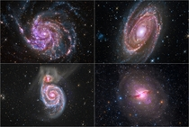 NASAs Quartet of Galaxies project combines optical data from amateur telescopes with data from the archives of NASA missions Clockwise from top-left M the Pinwheel Galaxy M Centaurus A and M the Whirlpool Galaxy M is in the process of eating a smaller gal