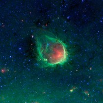 NASAs Spitzer Space Telescope detects a green ring nebula named RCW