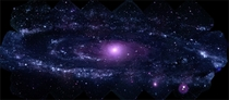 NASAs SWIFT has made the largest ever ultraviolet image of the Andromeda Galaxy The image shows a region  light-years wide and  light-years high  arcminutes by  arcminutes Credit NASASwiftStefan Immler GSFC and Erin Grand UMCP