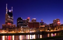 Nashville skyline at night including the Batman Building  x