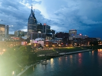 Nashville Tennessee as lightning strikes