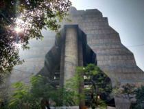 National Cooperative Development Corporation in Delhi INDIA by architect Mahendra Raj was nicknamed Pajama Building due to its bi-winged structure parting not unlike a pair of wide-leg pants is one of the citys most iconic brutalist constructions