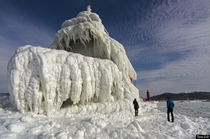 Natural ice sculpture - Grand Haven Lighthouse on Lake Michigan