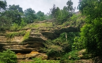 Natural sandstone landbridge at Land Bridge State Park WI USA