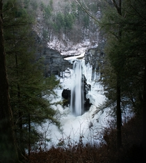 Nature framing itself around Taughannock falls during the winter time Trumansburg NY  IG trevorbelyea