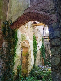 Nature reclaiming a derelict welsh castle