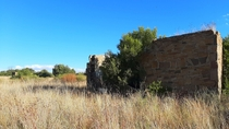 Nature reclaiming old stone house Free State South Africa