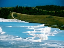 Natures infinity pools in Pamukkale Turkey