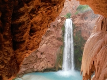 Natures window for an A view of Mooney Falls in the Grand Canyon AZ