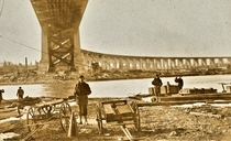 Naval militiamen of New York guarding the new Hell Gate Bridge New York City -