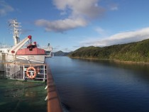 Navigating the Marlborough Sounds on the way to Wellington NZ