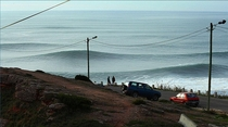 Nazare Portugal with large incoming swell