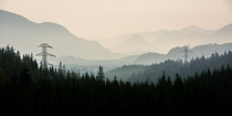Near Snoqualmie Pass WA - looking up the valley to the east through the wildfire smoke