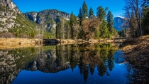 Nearly flawless reflection in Yosemite Valley