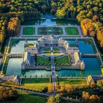 Nearly perfect symmetry of Schloss Nordkirchen a th century Baroque palace in North Rhine Westphalia Germany