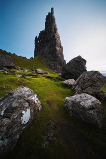 Needle Rock one of the many fascinating rock formations of The Storr Isle of Skye Scotland