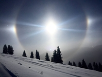 Negative temperatures and a sundog over the mountains today in Colorado