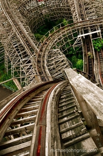 Neglected roller coaster in a Japanese amusement park abandoned in