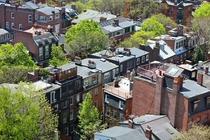 Neighbourhood of Back Bay from above Boston USA