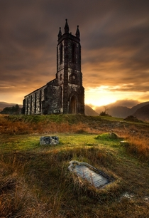 Nestled at the foot of Mount Errigal in Donegal Ireland Overlooking the beautiful Poisoned Glen is the ruins of Dunlewy Church Photo by Gary McParland