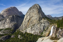 Nevada Falls and the back of Half Dome Yosemite NP CA from the John Muir Trail