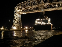 Never allowed a rest the Duluth Arial Lift Bridge operator rises for freighter James R Barker at am xpost rboatporn