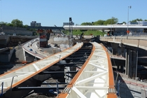 New bridge being incrementally launched above the Turcot interchange rebuild Montreal