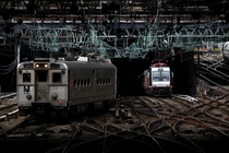 New Jersey Transit trains exited left and entered right the century-old tunnel under the Hudson River at Pennsylvania Station in Manhattan