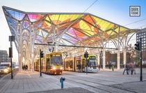 New tram stop in city centre of d Poland
