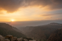 New Years first Sunset in the Dana Biosphere Reserve in the Jordanian Wilderness