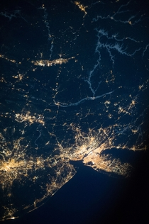 New York City and much of the Mid-Atlantic at night as seen from the International Space Station