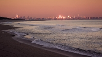 New York City at sunset as seen from the Jersey Shore