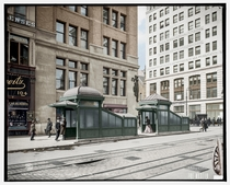 New York City East rd Street Subway Entrance and Exit  - Colorized