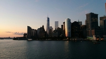 New York City from the Staten Island Ferry at sunset