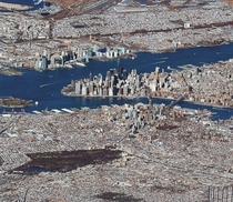 New York City image captured by the Worldview- satellite at an extremely low angle