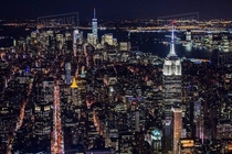 New York City Manhattan Aerial view of illuminated skyline at night