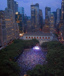 New York Rangers fans gather in Bryant Park to watch Game  of the  Stanley Cup Final