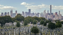New York skyline mirrored by rows of tombstones OC x