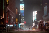 New York - Times Square at Blizzard