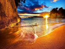 New Zealand Cathedral Cove Beach Sunrise