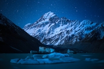 New Zealands Mt Cook under Moonlight