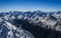 New Zealands Southern Alps on a perfect winter day