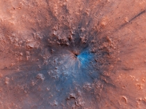 Newly formed impact crater on Mars It looks blue because its a false color image highlighting exposed bedrock which combines several color filters to enhance differences between material compositions Image NASAJPL-CaltechUniversity of Arizona