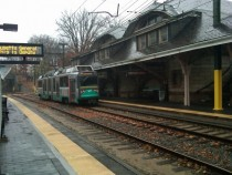 Newton Center Station on the D Line with its classic Boston amp Albany station building Newton Massachusetts
